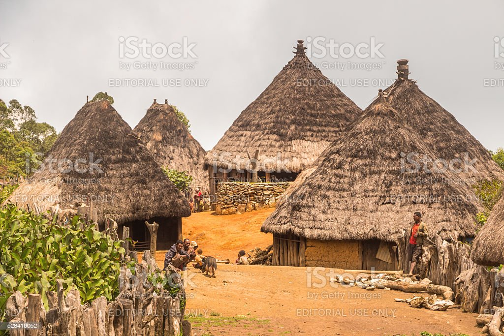 Traditional Village with Huts in East Timor stock photo