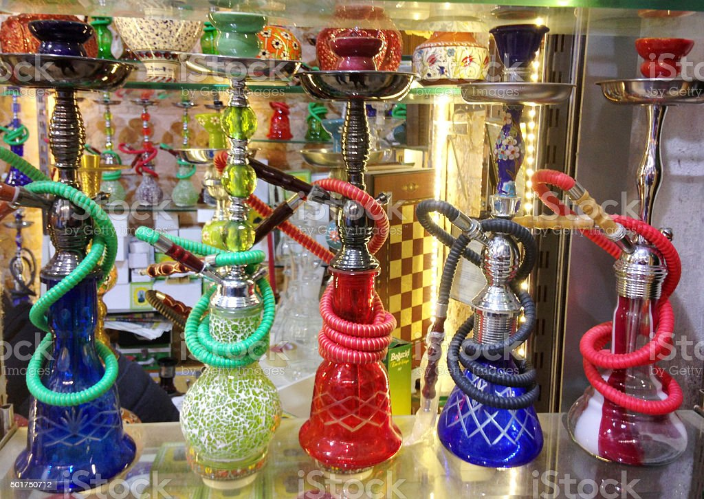 Traditional Water Pipes, Grand Bazaar, Istanbul, Turkey stock photo