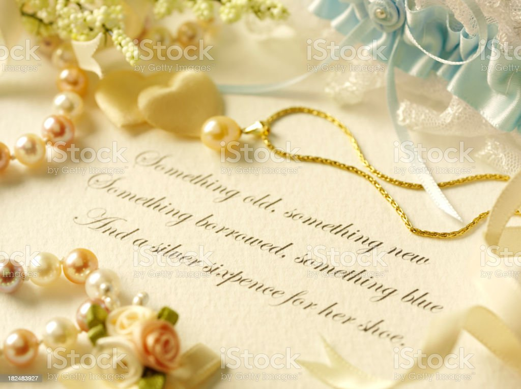Traditional Wedding Saying and Pearls royalty-free stock photo