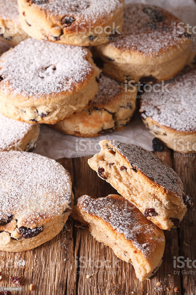 Traditional Welsh cakes with raisins and powdered sugar macro stock photo