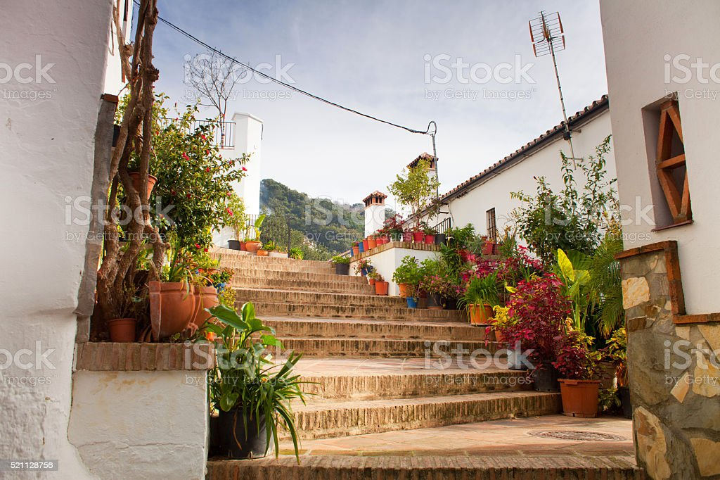 traditional white architecture mountain village in Andalusia , Spain stock photo