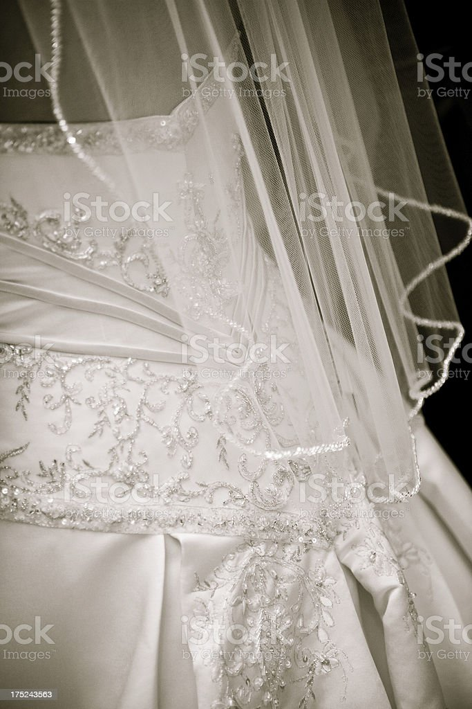 Traditional White Wedding Dress on Bride with Veil royalty-free stock photo
