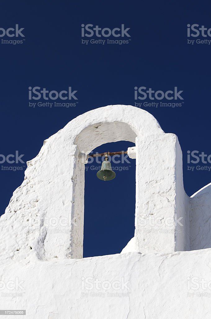 Traditional Whitewashed Greek Church Belltower Blue Sky royalty-free stock photo