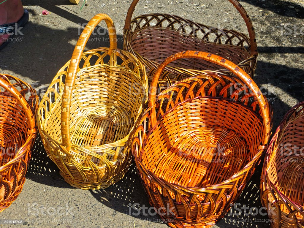 Traditional wicker baskets sailing on a fair stock photo