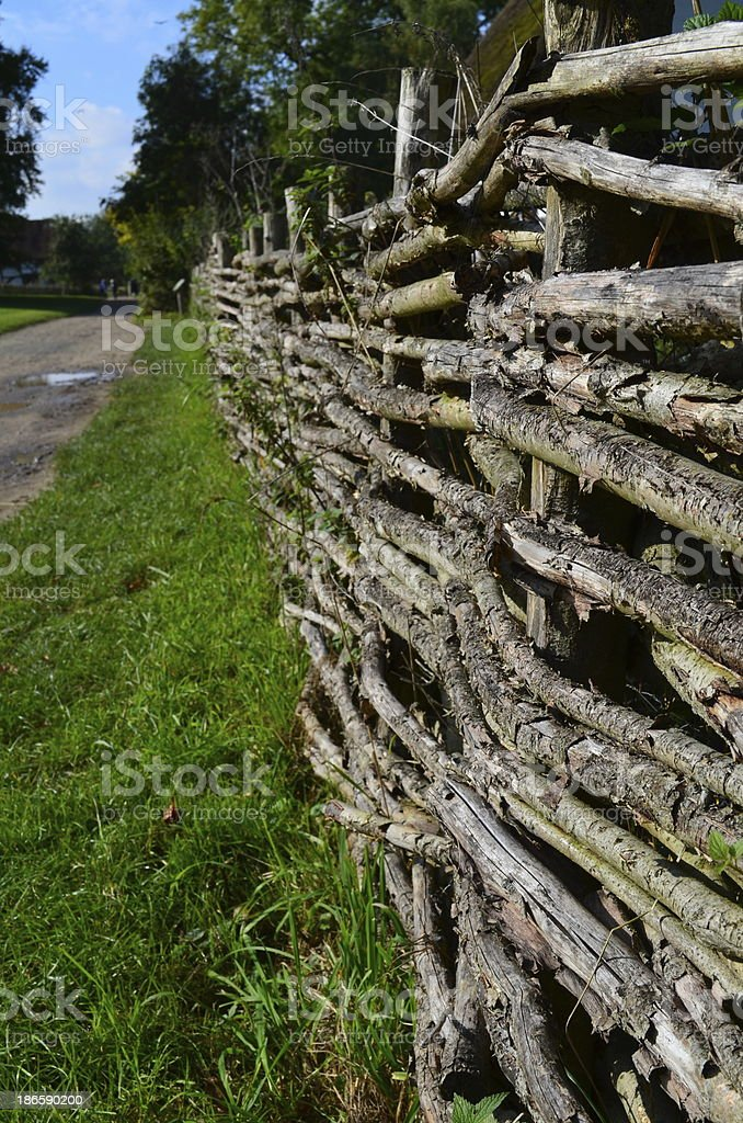 Traditional willow wattle fencing. royalty-free stock photo