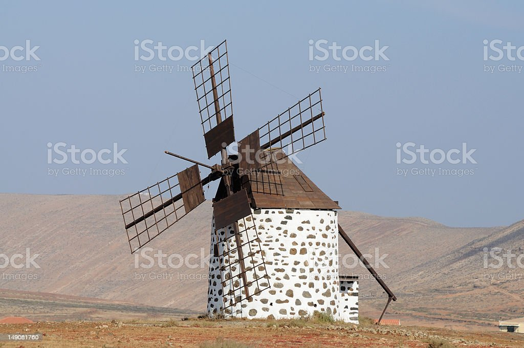 Traditional Windmill on Fuerteventura, Spain stock photo