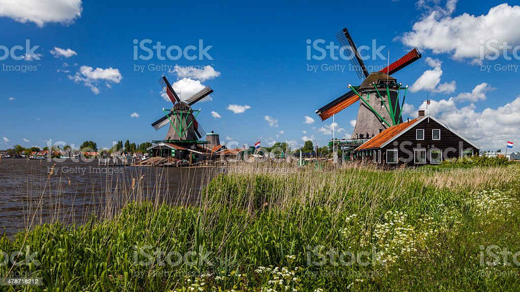 Traditional windmills stock photo