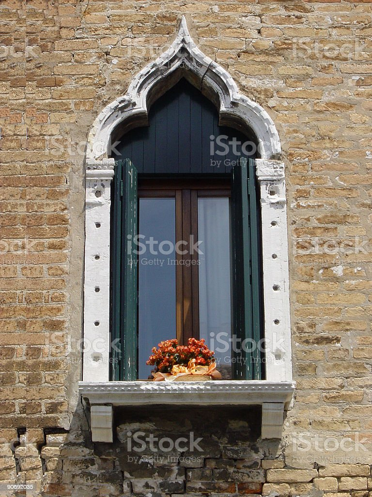 Traditional window in Venice, Italy royalty-free stock photo