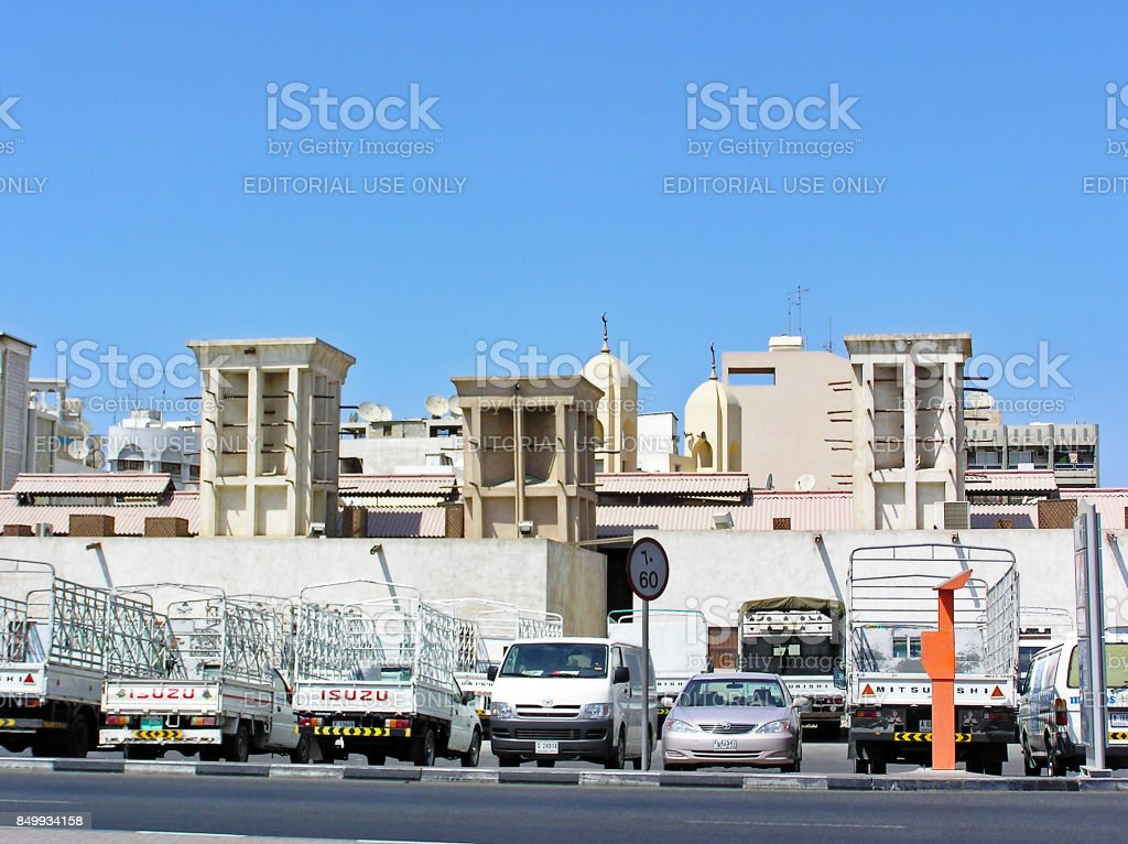 Traditional windtowers for ventilation and air conditioning stock photo