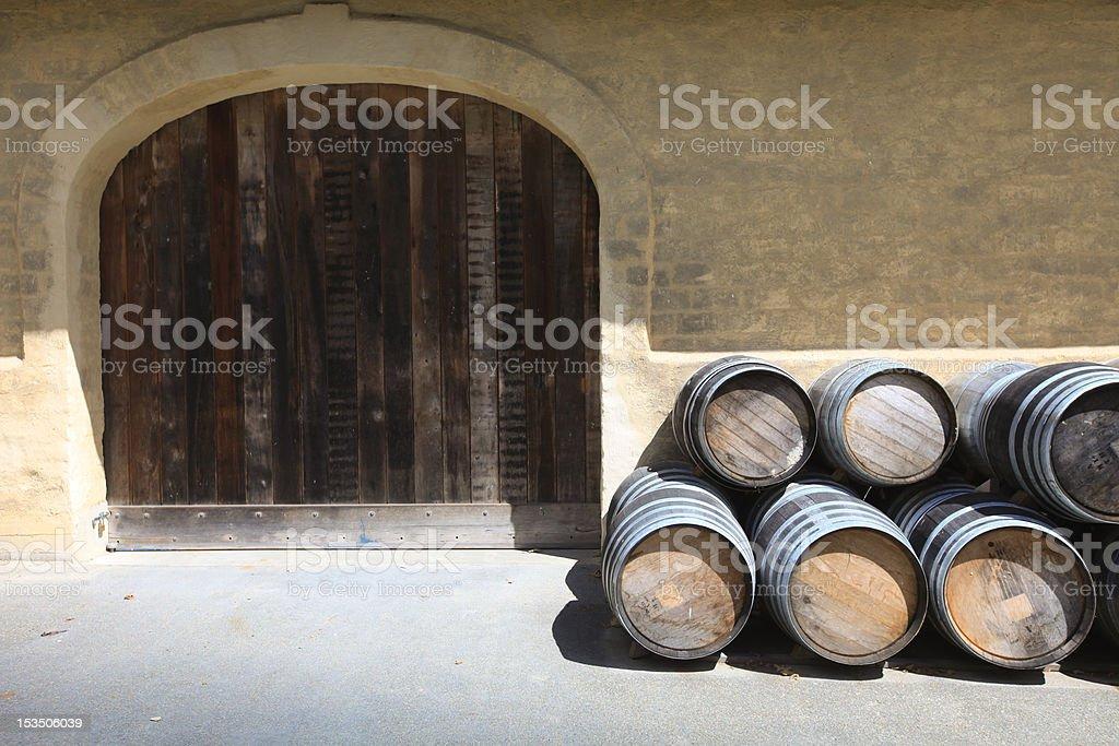 Traditional winery oak barrels stock photo