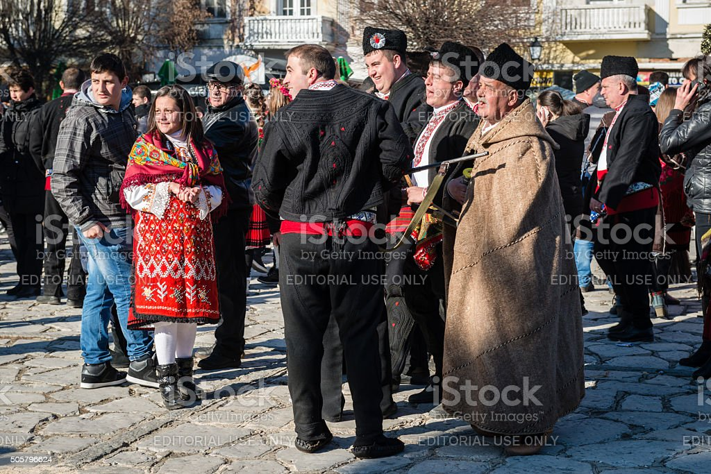Traditional Winter Customs with Masks in Bulgaria stock photo