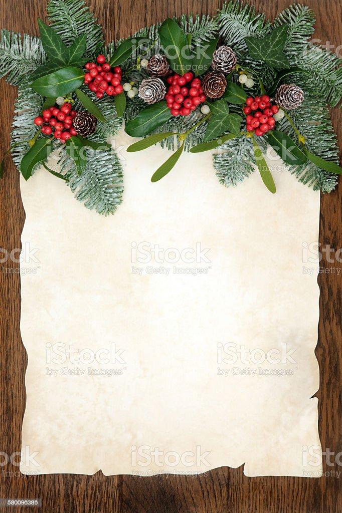 Traditional Winter Greenery Border stock photo