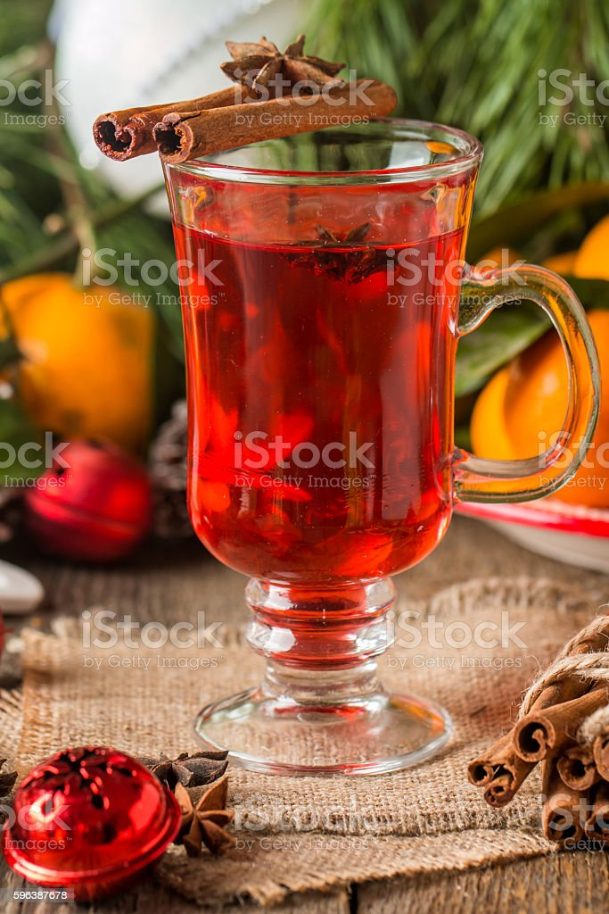 Traditional winter mulled wine stock photo