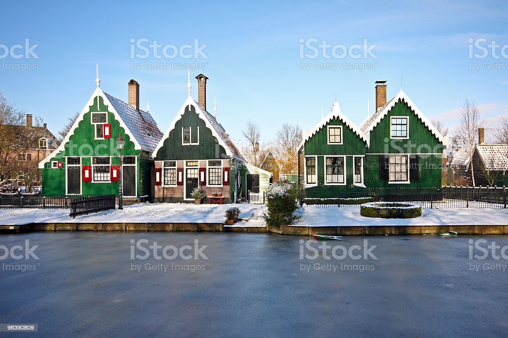 Traditional winter scenery in the Netherlands stock photo
