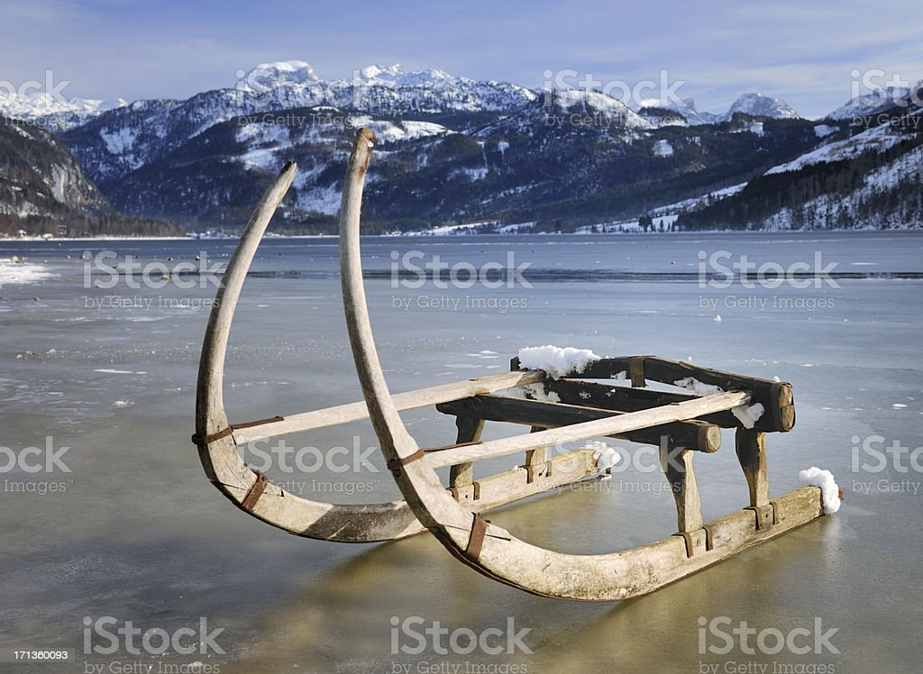 Traditional Winter Sled, Lake Grundlsee, Austrian Alps (XXXL) stock photo