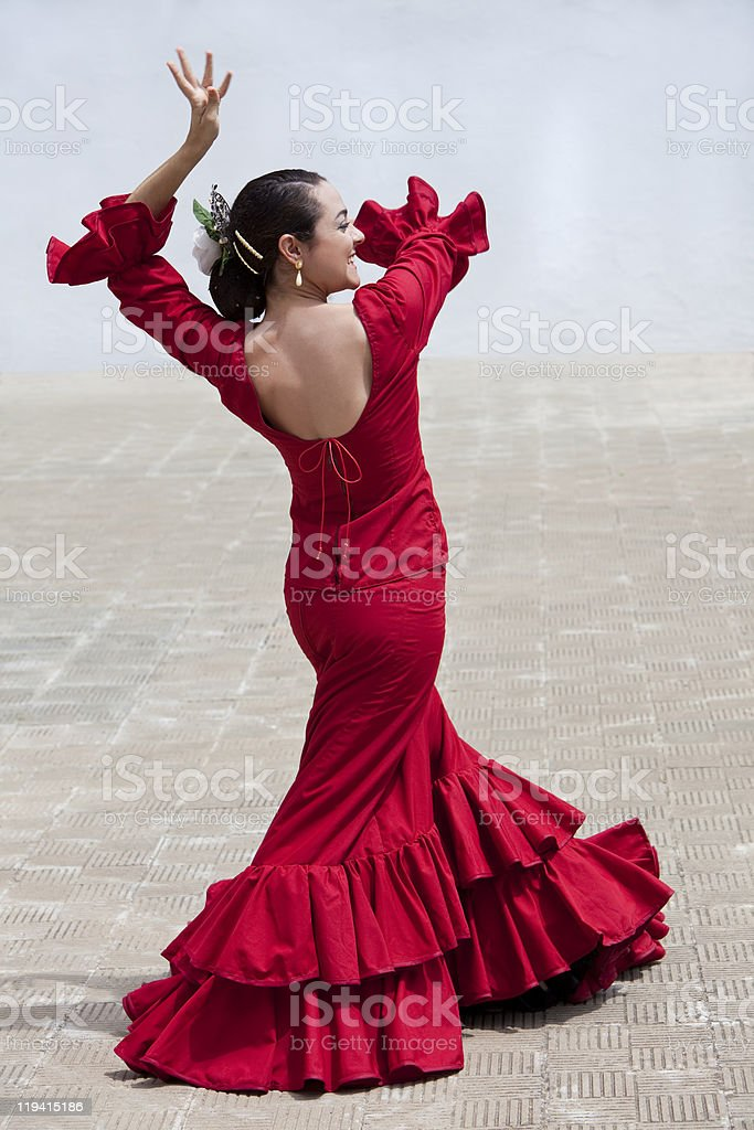 Traditional Woman Spanish Flamenco Dancer In Red Dress royalty-free stock photo