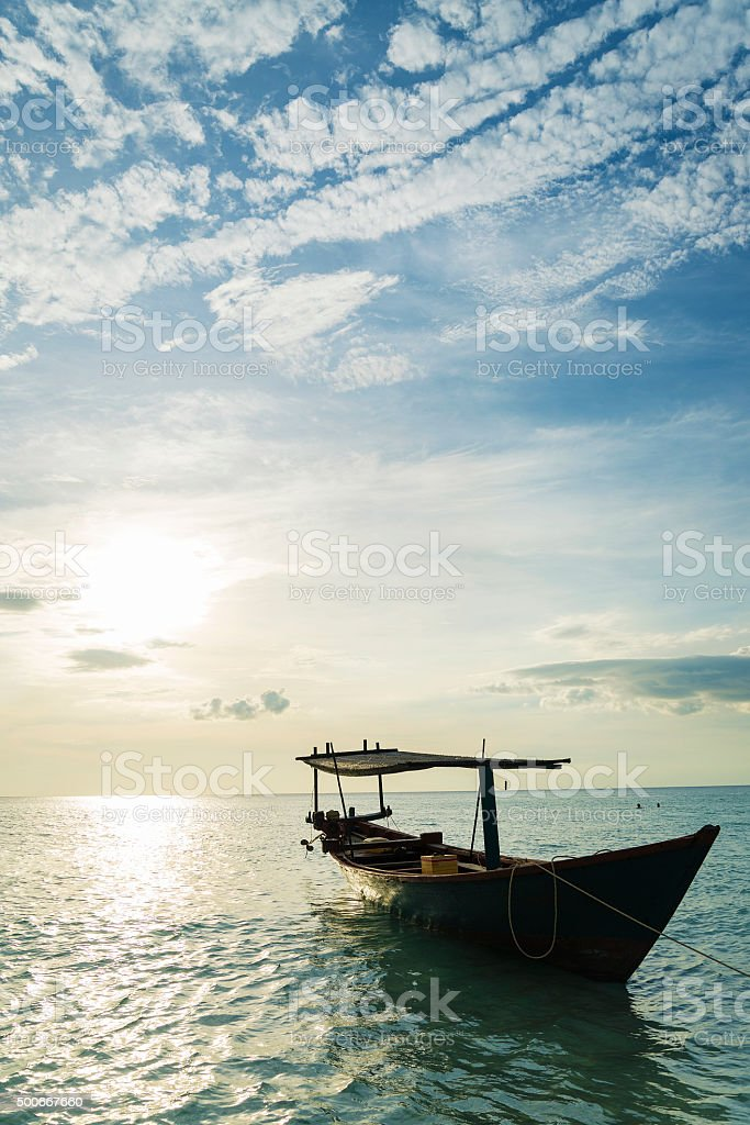 traditional wood fishing and taxi boats koh rong cambodia stock photo