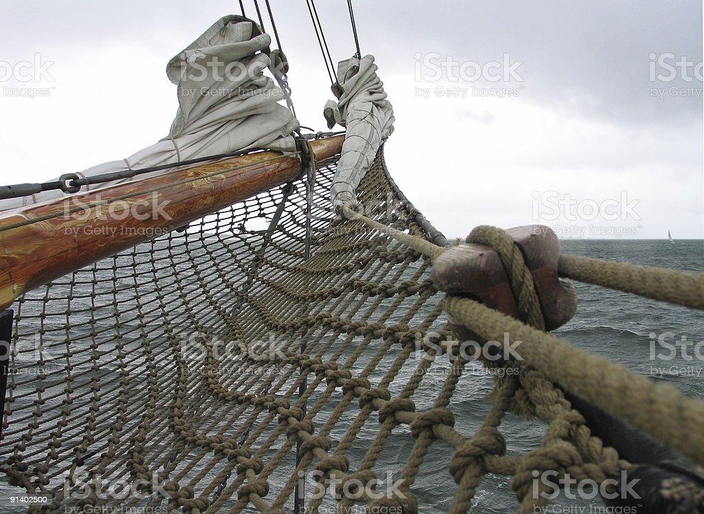 Traditional wood sailboat royalty-free stock photo