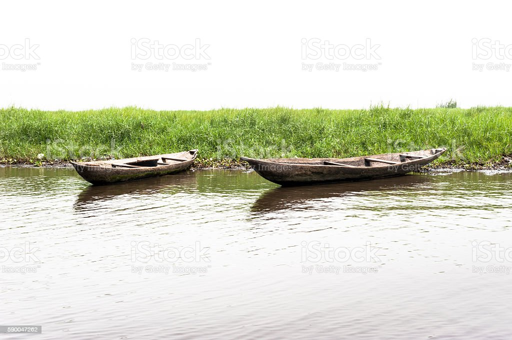 Traditional wooden canoes on the Lake Nokoue, Ganvie,  Benin stock photo