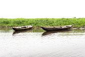 Traditional wooden canoes on the Lake Nokoue, Ganvie,  Benin