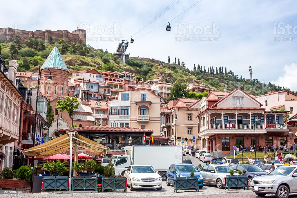 Traditional wooden carving balconies of Old Town of  Tbilisi, Re stock photo