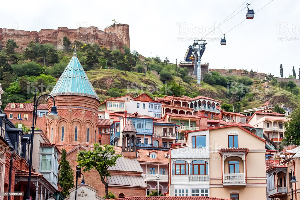 Traditional wooden carving balconies of Old Town of Tbilisi, Rep stock photo