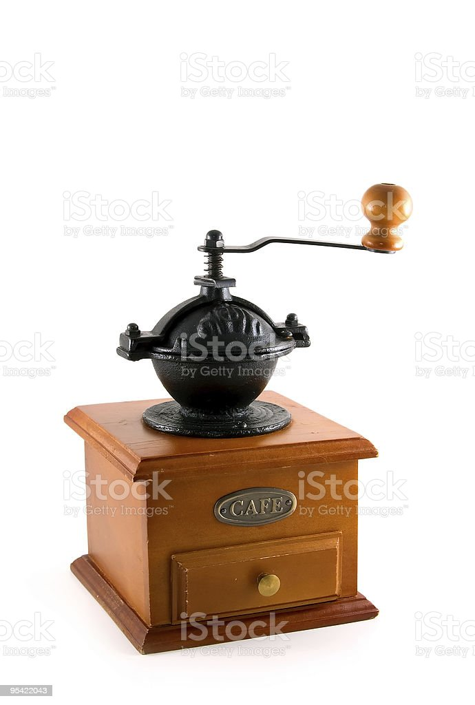 Traditional wooden coffee grinder royalty-free stock photo