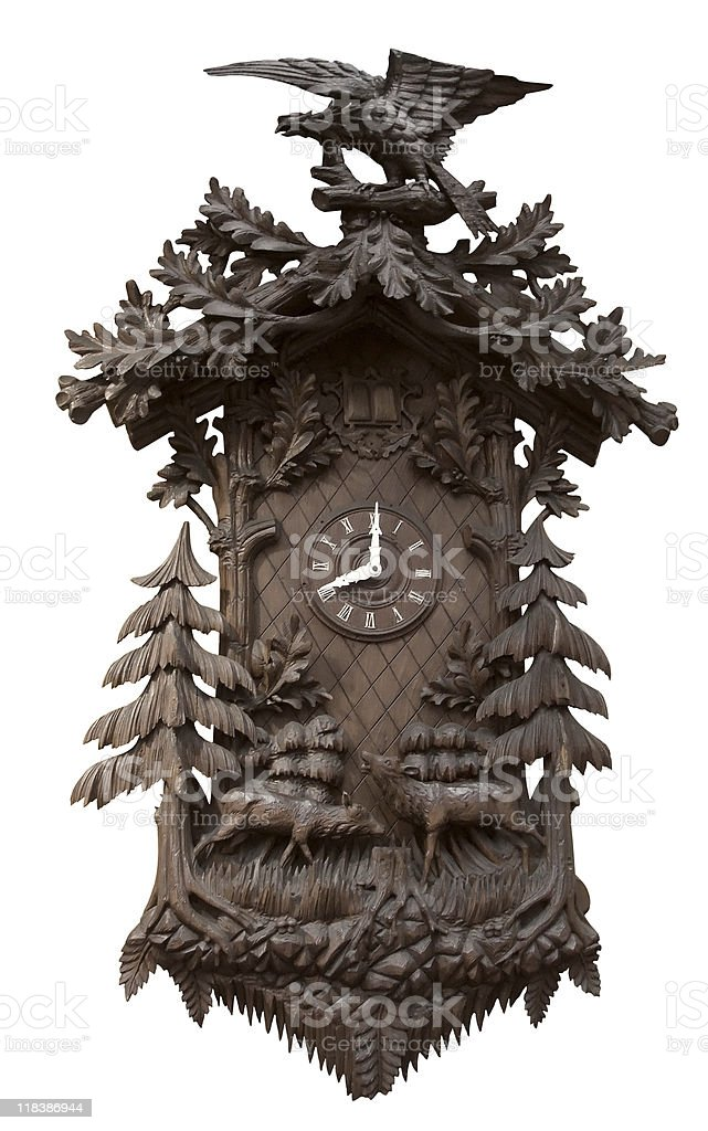 traditional wooden cuckoo clock stock photo