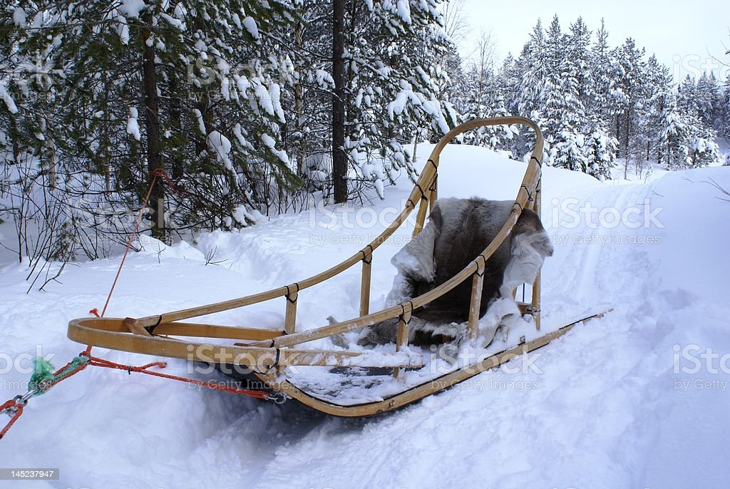 traditional wooden dogsled royalty-free stock photo