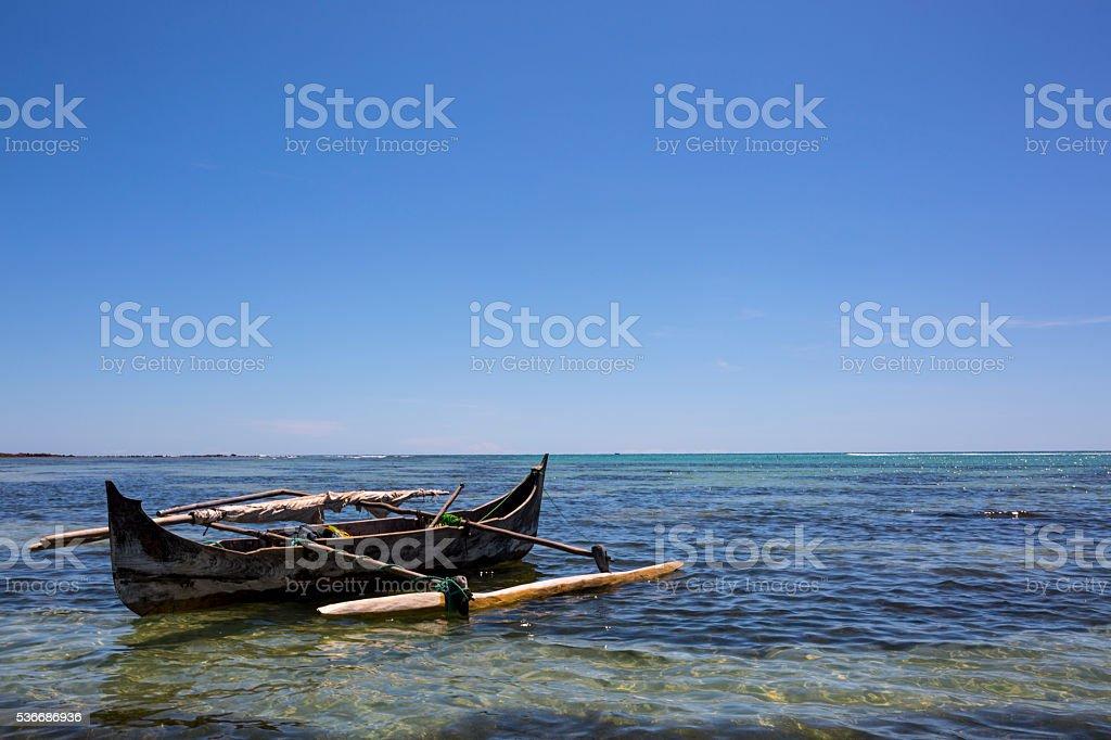 Traditional wooden fisherman piroga  in Madagascar stock photo