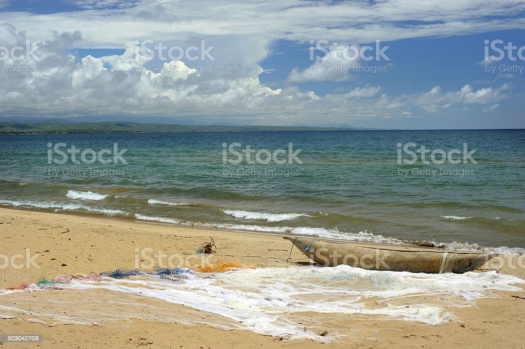 Traditional wooden fishing boat on Lake Malawi stock photo
