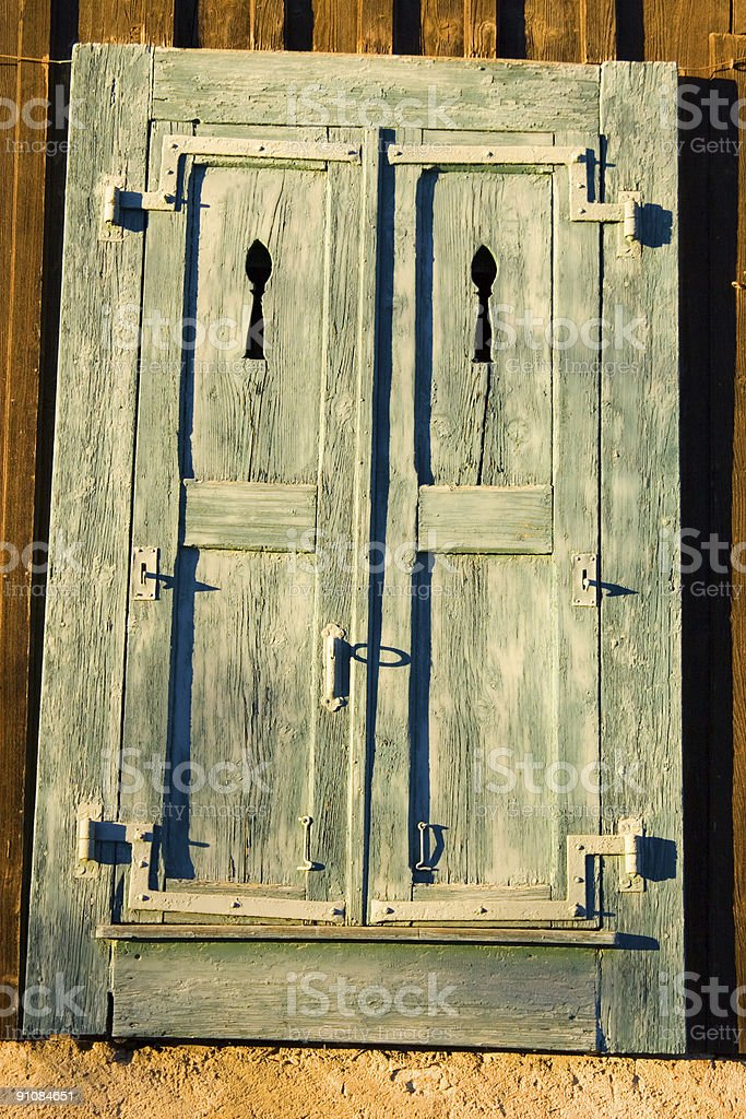 Traditional Wooden French Chalet Door royalty-free stock photo