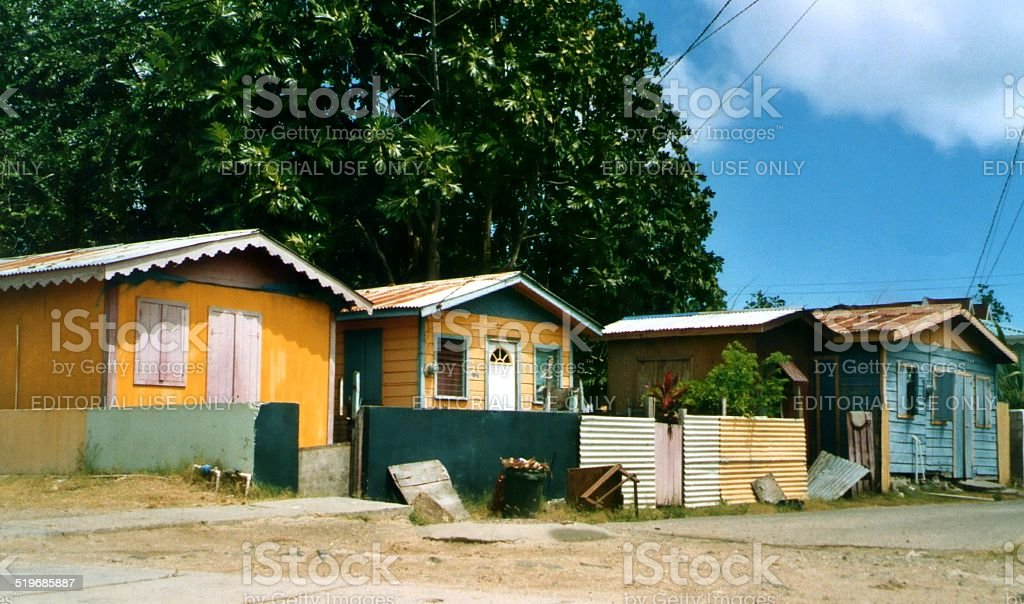 Traditional wooden houses, Gros Islet - Saint Lucia, WIndward Islands stock photo
