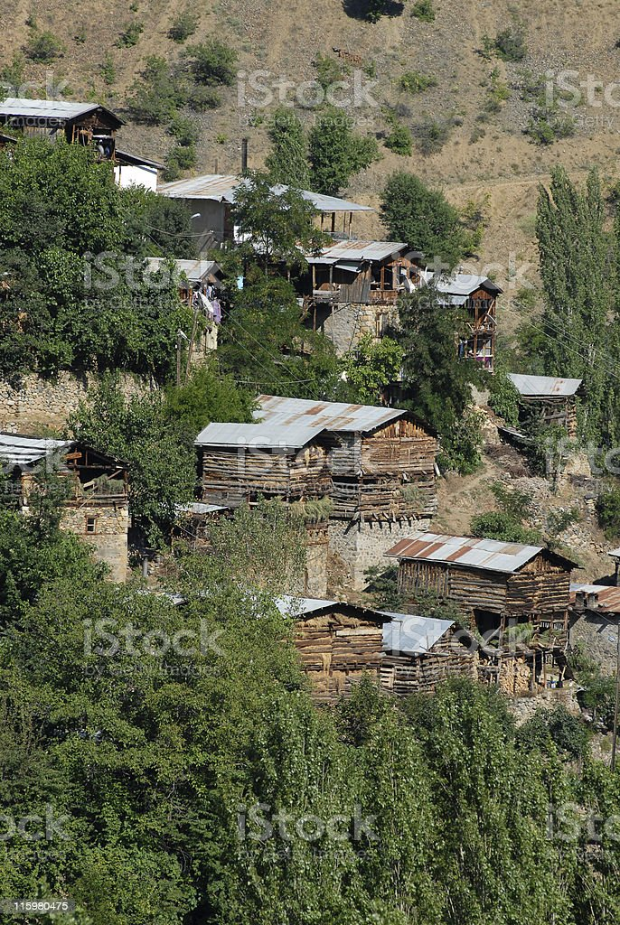 Traditional Wooden Houses in Black Sea, Turkey stock photo
