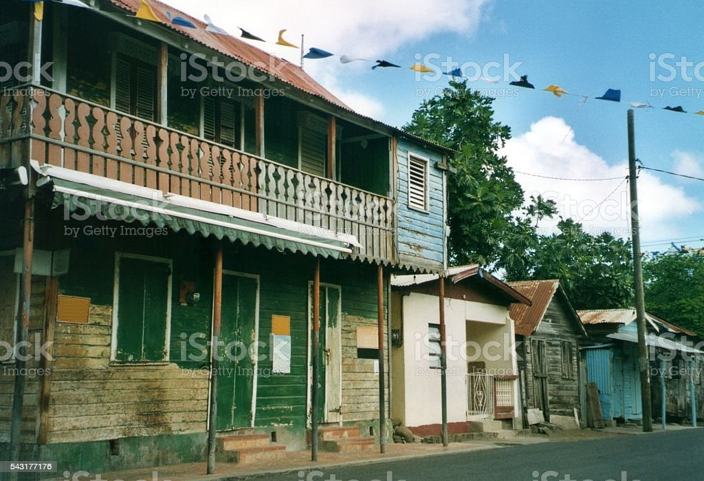 Traditional wooden houses in Gros Islet, Saint Lucia, WIndward Islands stock photo