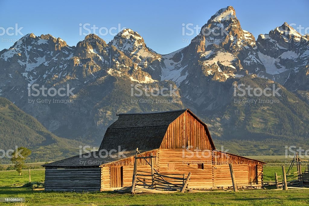 Traditional wooden Moulton mormon row barn in the mountains stock photo