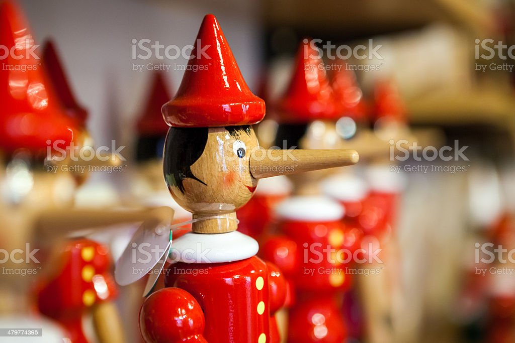 Traditional wooden Pinocchio toy. stock photo