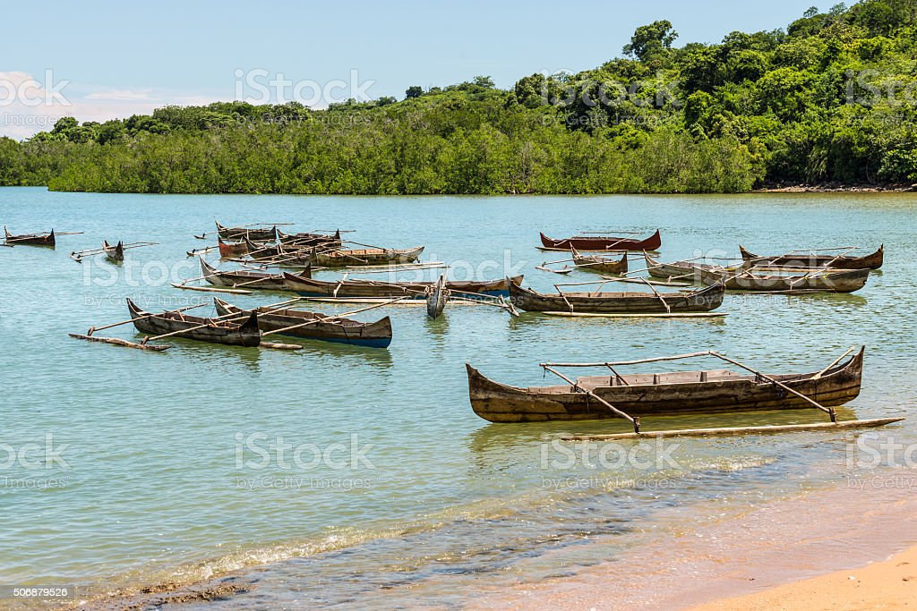 Traditional wooden pirogues on Nosy Be island stock photo