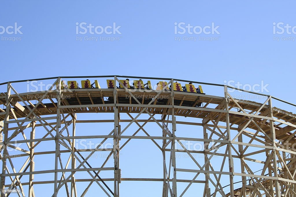 Traditional Wooden Rollercoaster. royalty-free stock photo