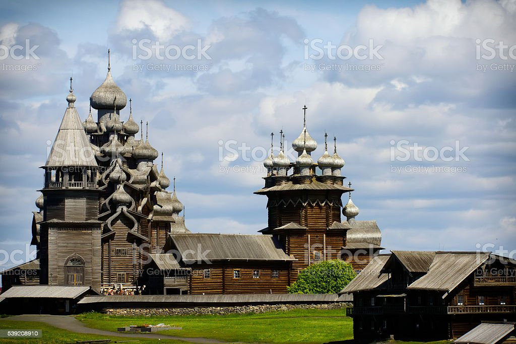 Traditional wooden Russian church on the island of Kizhi stock photo