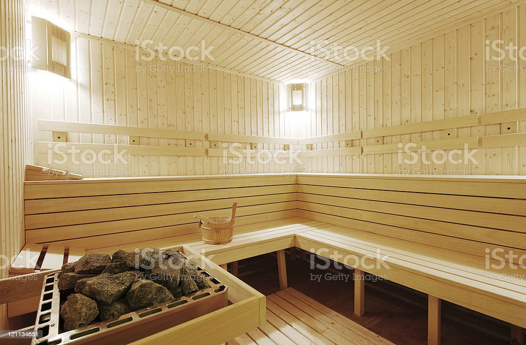 Traditional wooden sauna stock photo