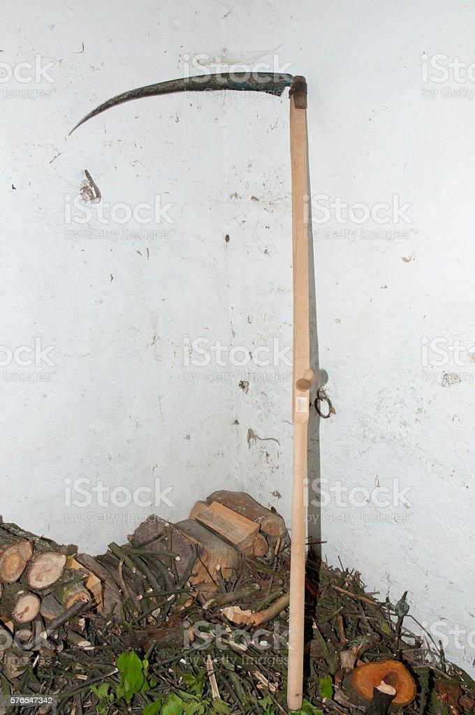 Traditional Wooden Scythe stock photo