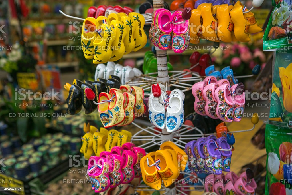 traditional wooden shoes clog as gift in amsterdam holland stock photo