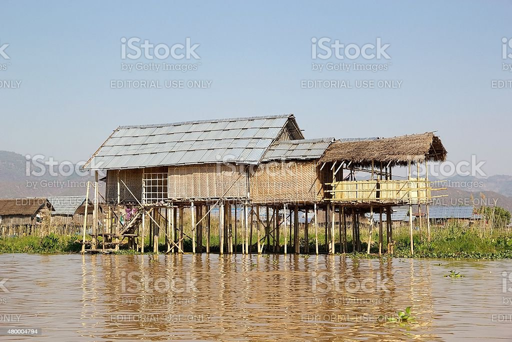 Traditional wooden stilt house on the Lake Inle Myanmar stock photo