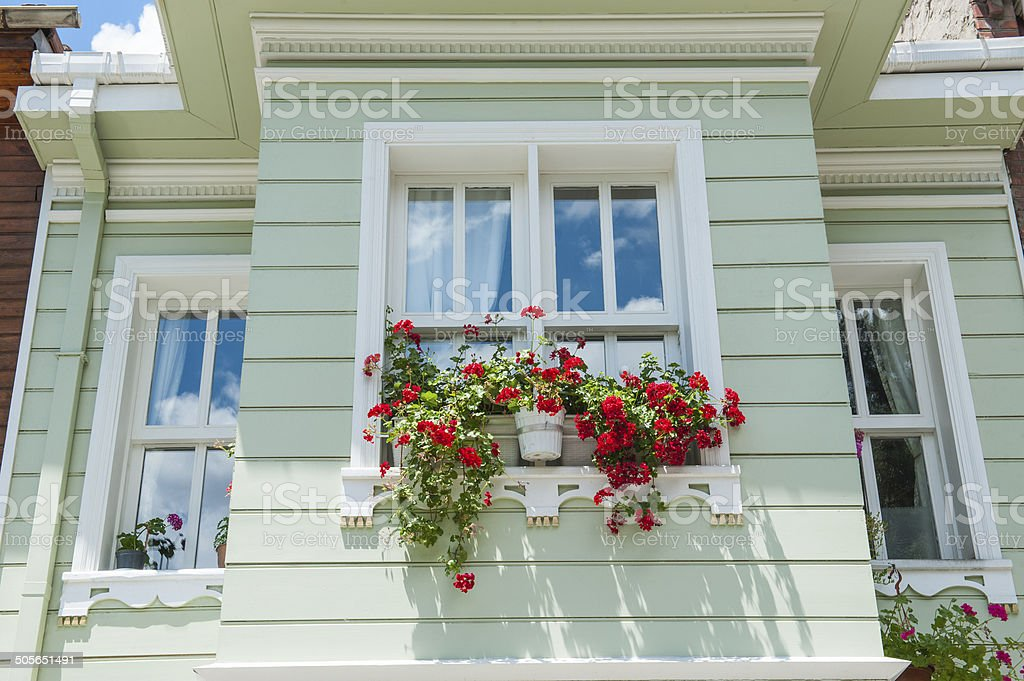 Traditional wooden turkish architecture stock photo
