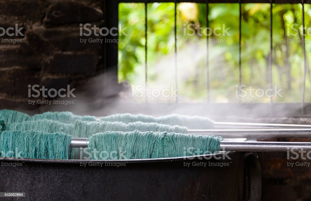 Traditional wool dying stock photo