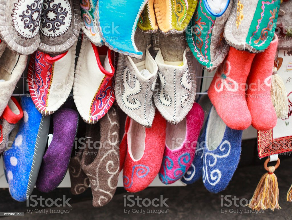 Traditional wool ethnic slippers on market in Almaty, Kazakhstan stock photo