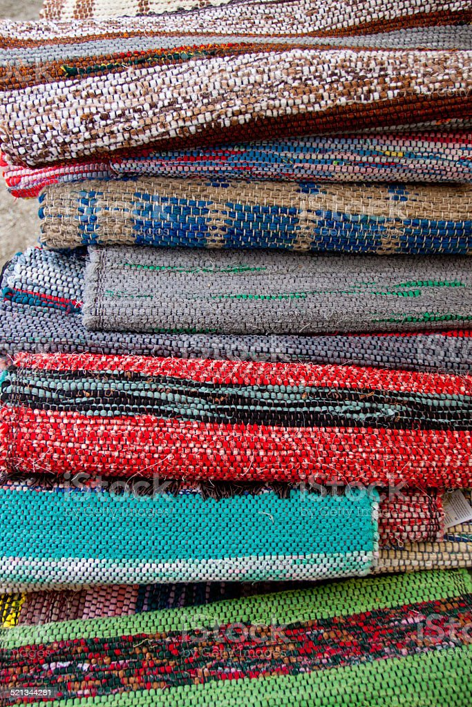 Traditional woven rugs stock photo