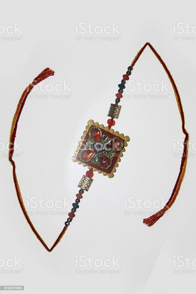 RAKHI, traditional wrist band represents bonding between Sister-Brother stock photo