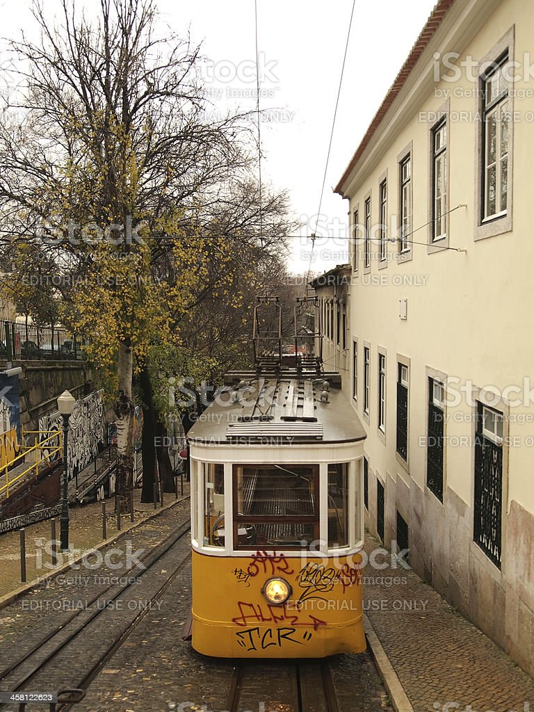 Traditional yellow trams in Lisbon royalty-free stock photo
